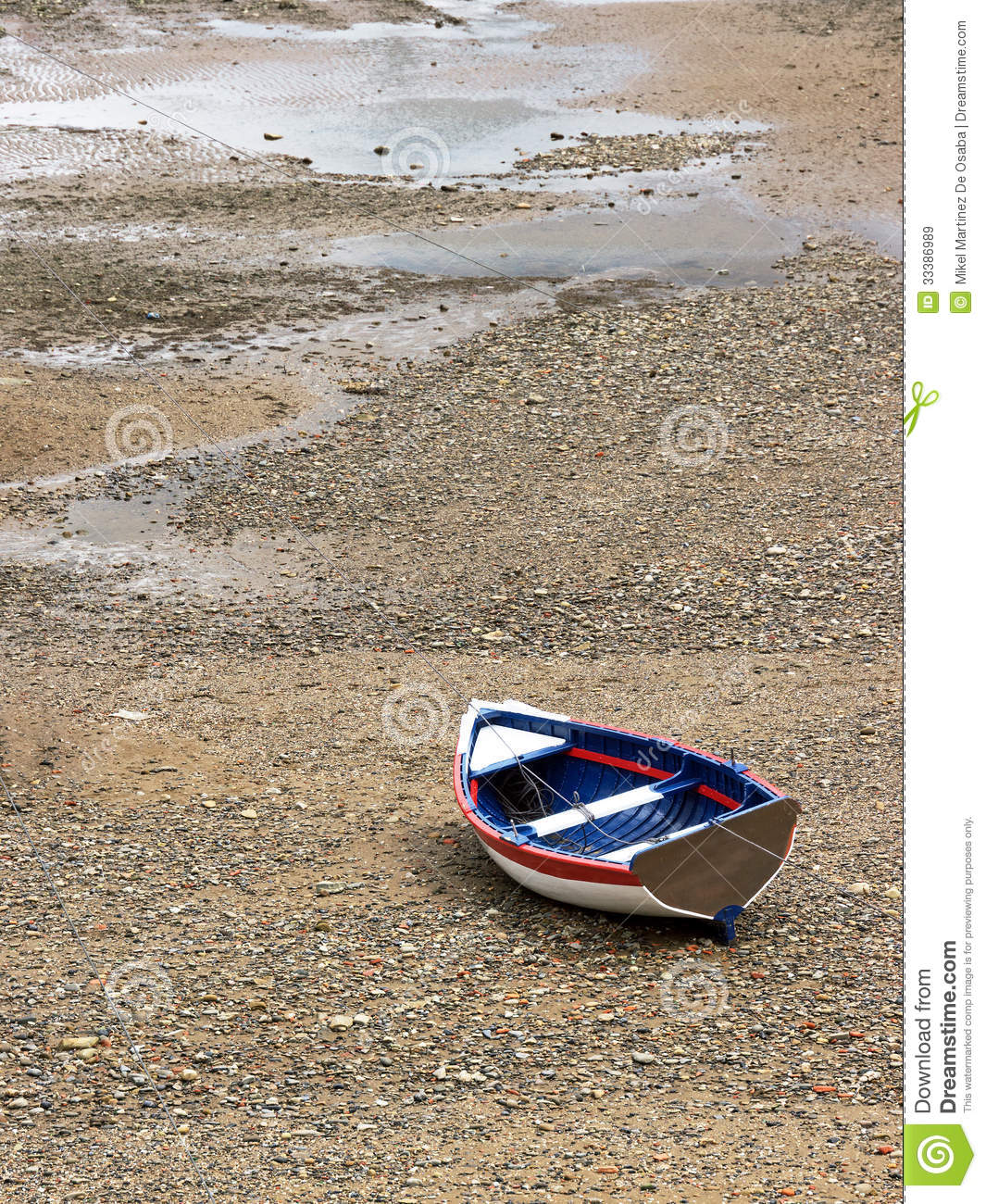 Wooden Boat Stranded Due Low Tide Royalty Free Stock ...