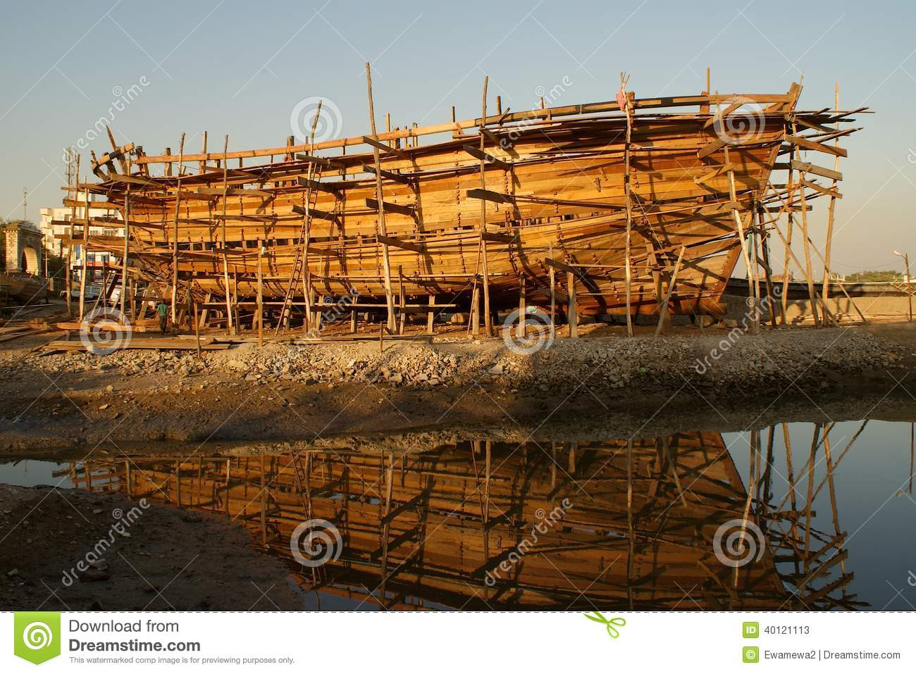 Wooden Boat Under Construction Stock Photo - Image: 40121113