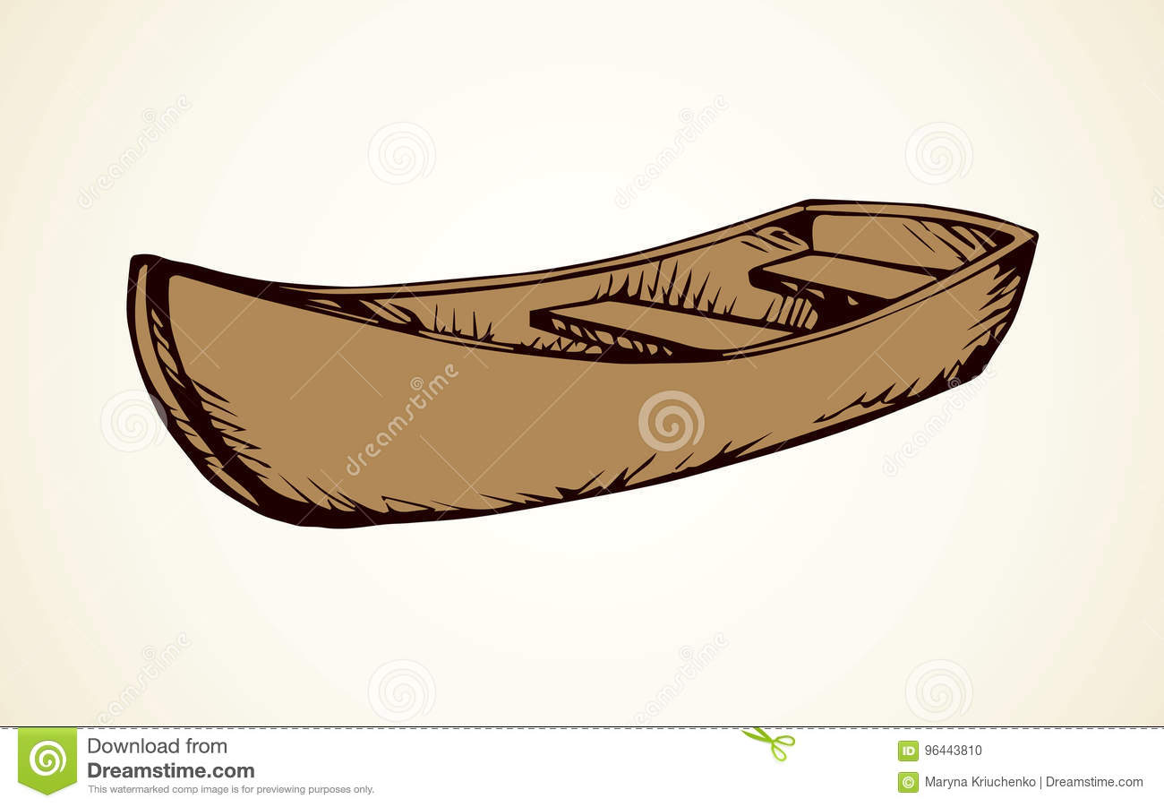 Wooden Boat Vector Drawing