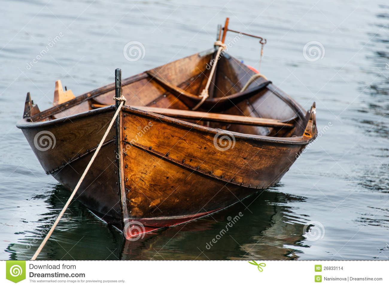 Wooden Boat On Water Stock Images - Image: 26833114