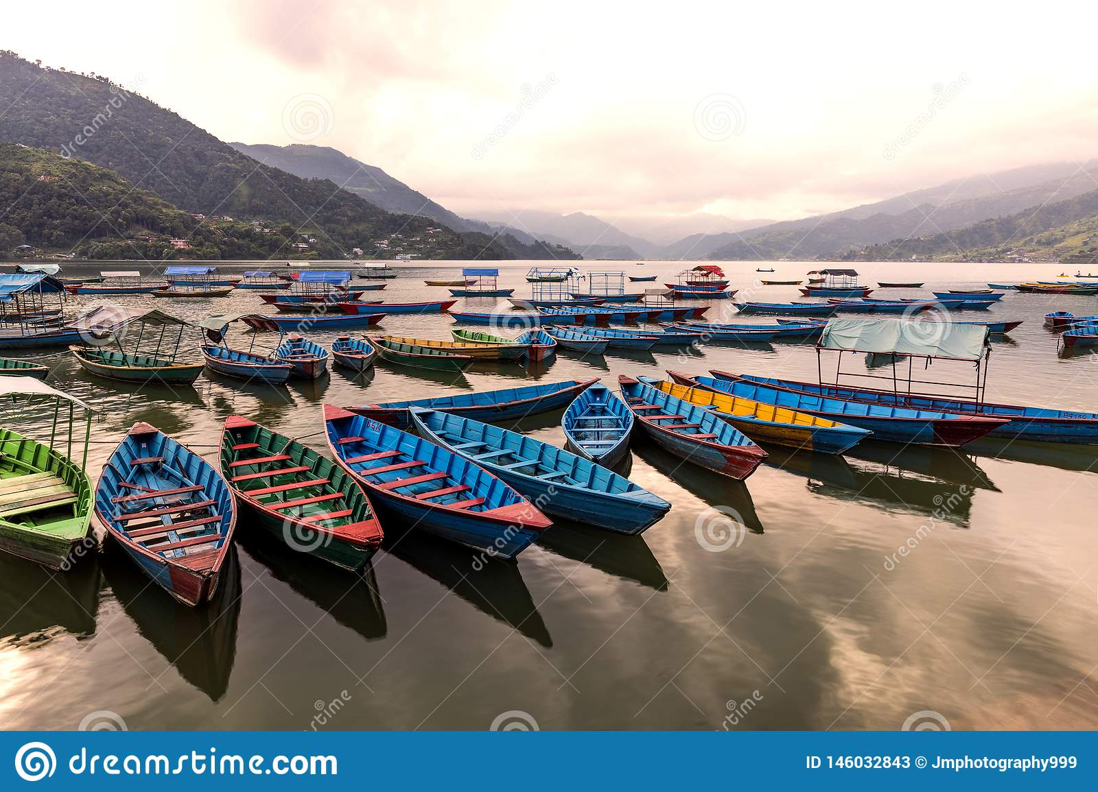 WOODEN BOATS IN LAKE