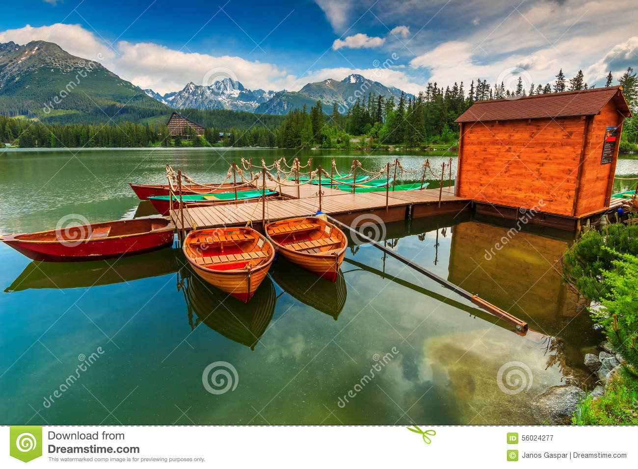 Beautiful House Plans With Photos Wooden Boats On The Mountain Lake Strbske Pleso Slovakia