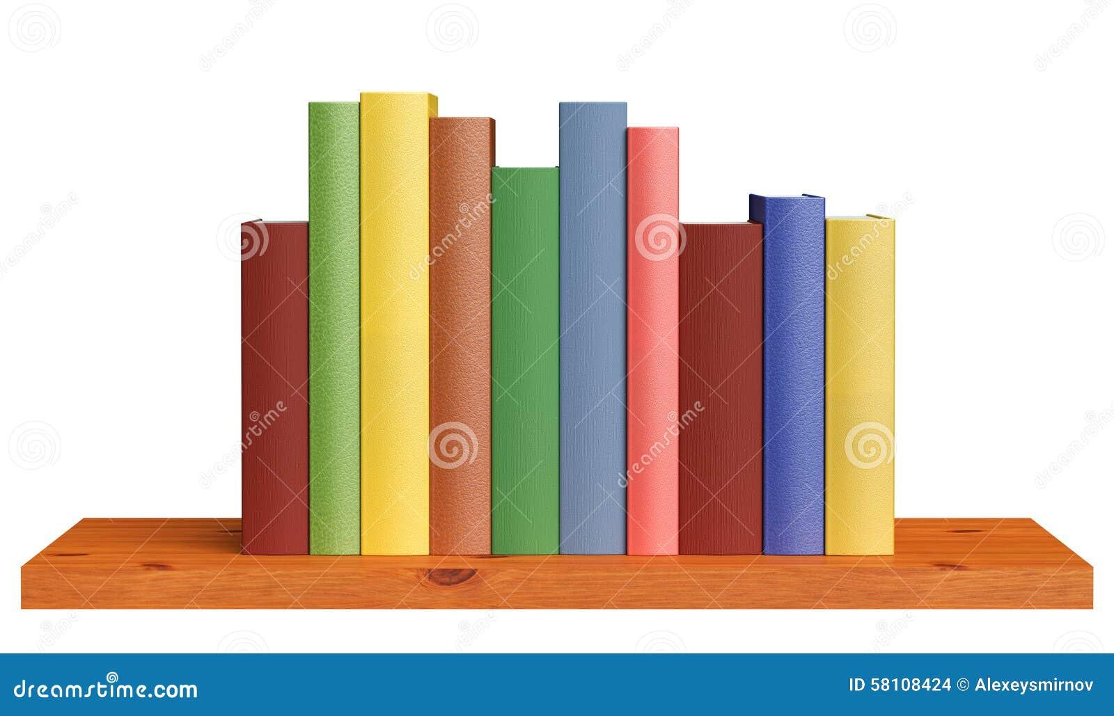Wooden Bookshelf With Books Stock Illustration