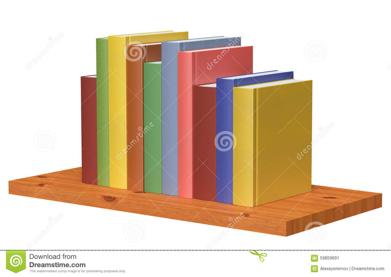 Wooden Bookshelf With Colored Books Stock Illustration