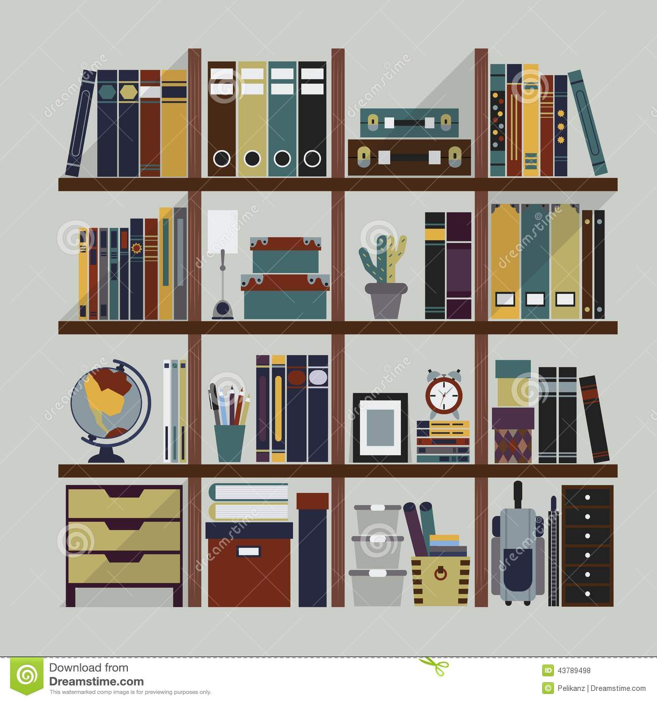 Stock Illustration Wooden Bookshelf Different Objects Including Books Folders Organizers Boxes Suitcases Frame Alarm Clock Pencil Case Image43789498 on alarm clock wallpaper