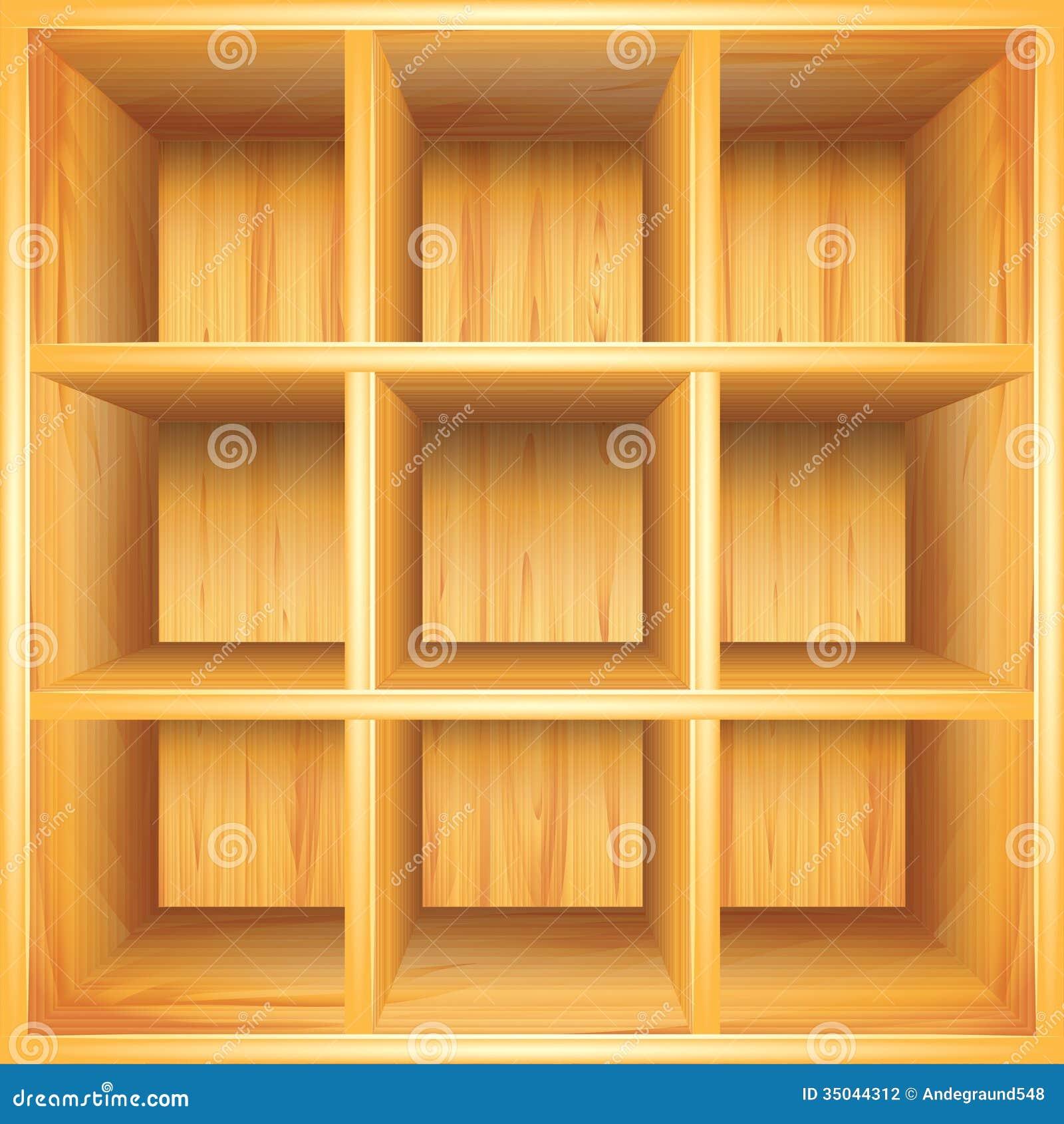 Wooden Bookshelf, Vector Background Stock Photography ...