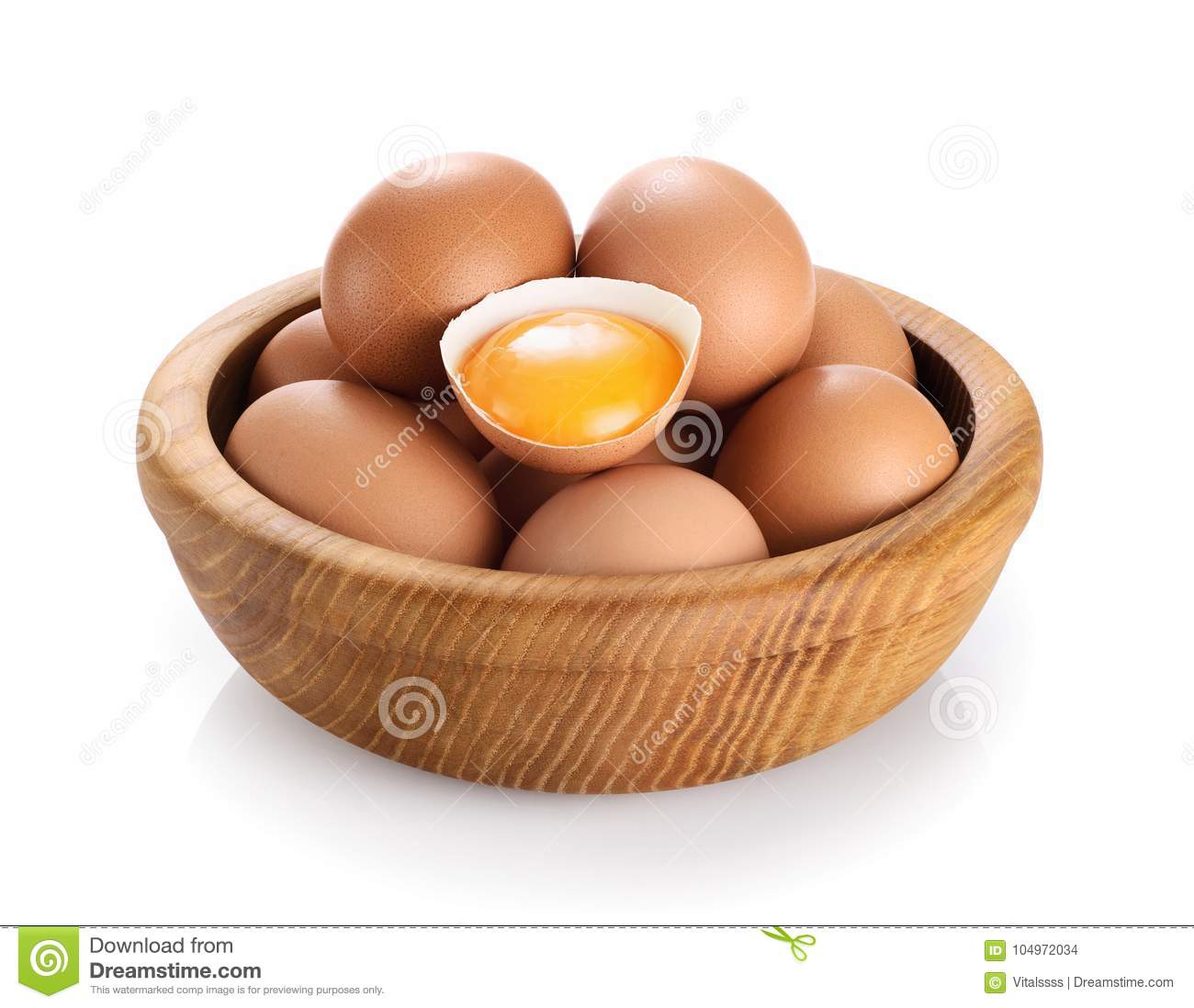 Wooden Bowl With Eggs Isolated On White Background Broken