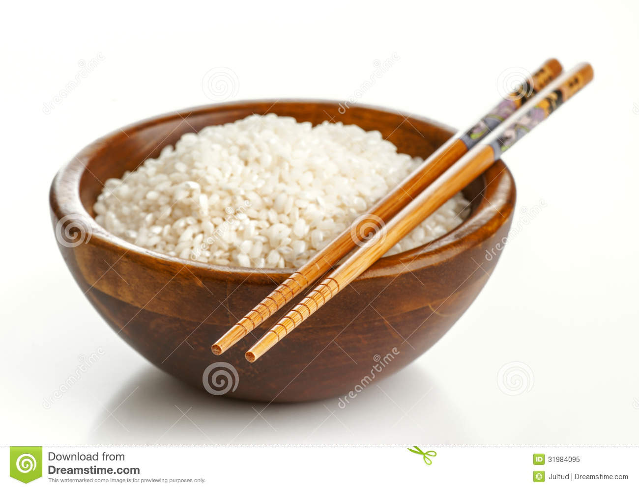 Traditional Japanese House Plans Wooden Bowl With Rice And Chopsticks Stock Image Image