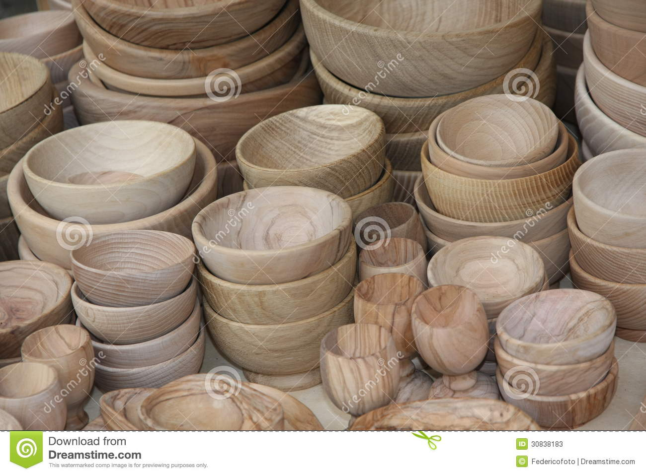 Wooden Bowls For Sale At The Local Flea Market Stock Image Image Of Made Container 30838183