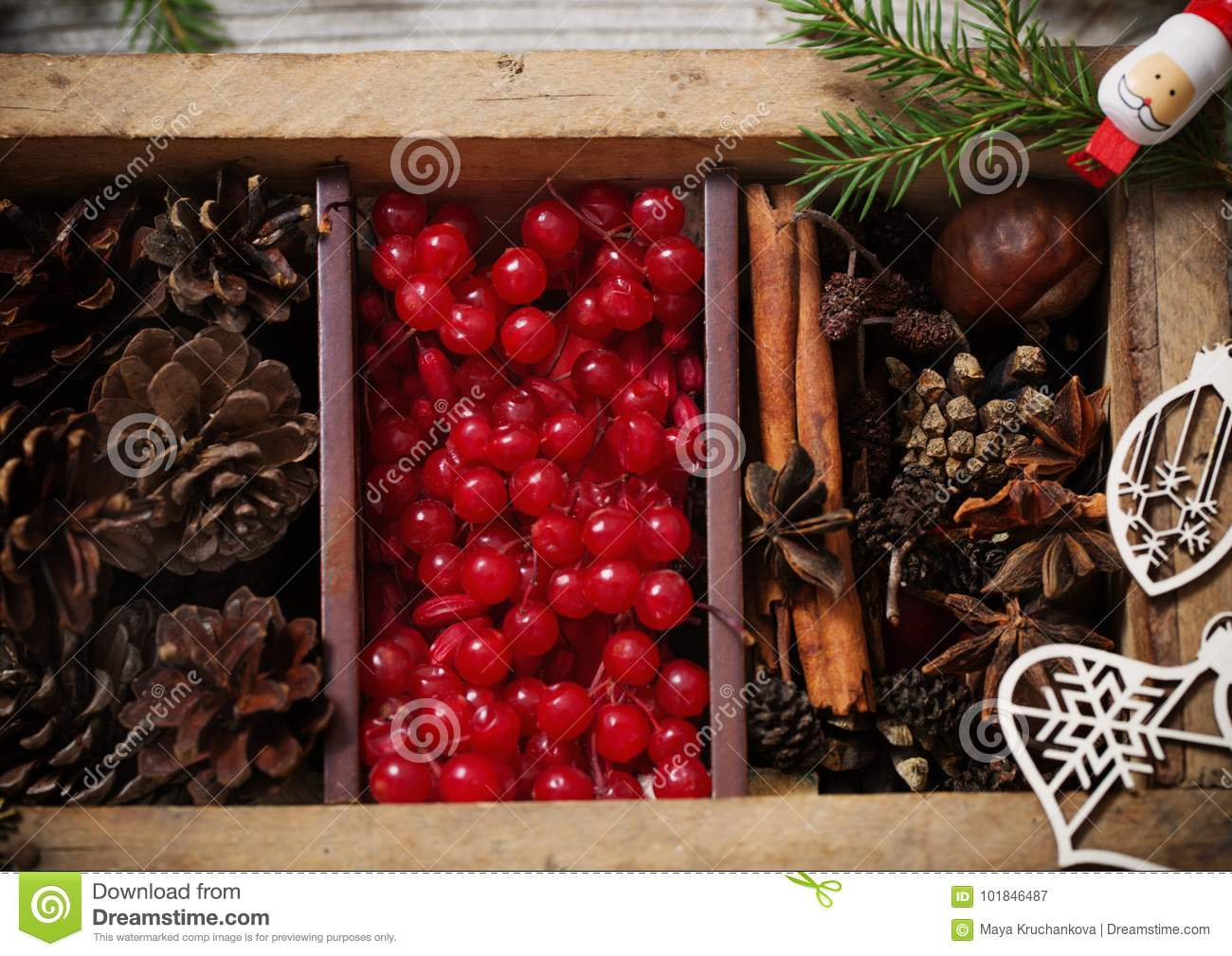 wooden box with christmas decorations - Wooden Box Christmas Decorations