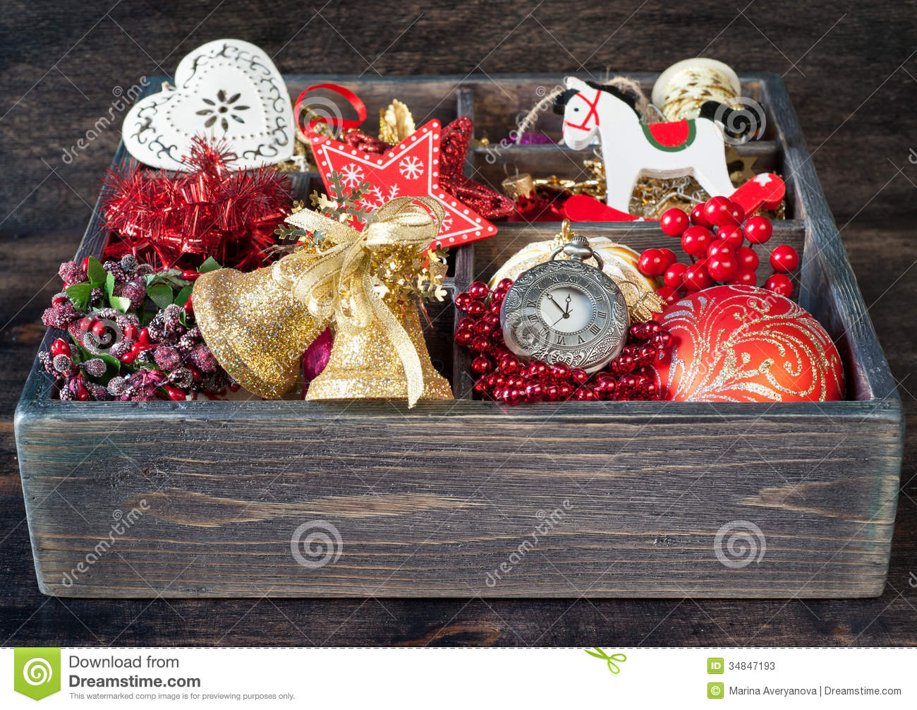 wooden box with christmas toys and decorations - Wooden Box Christmas Decorations