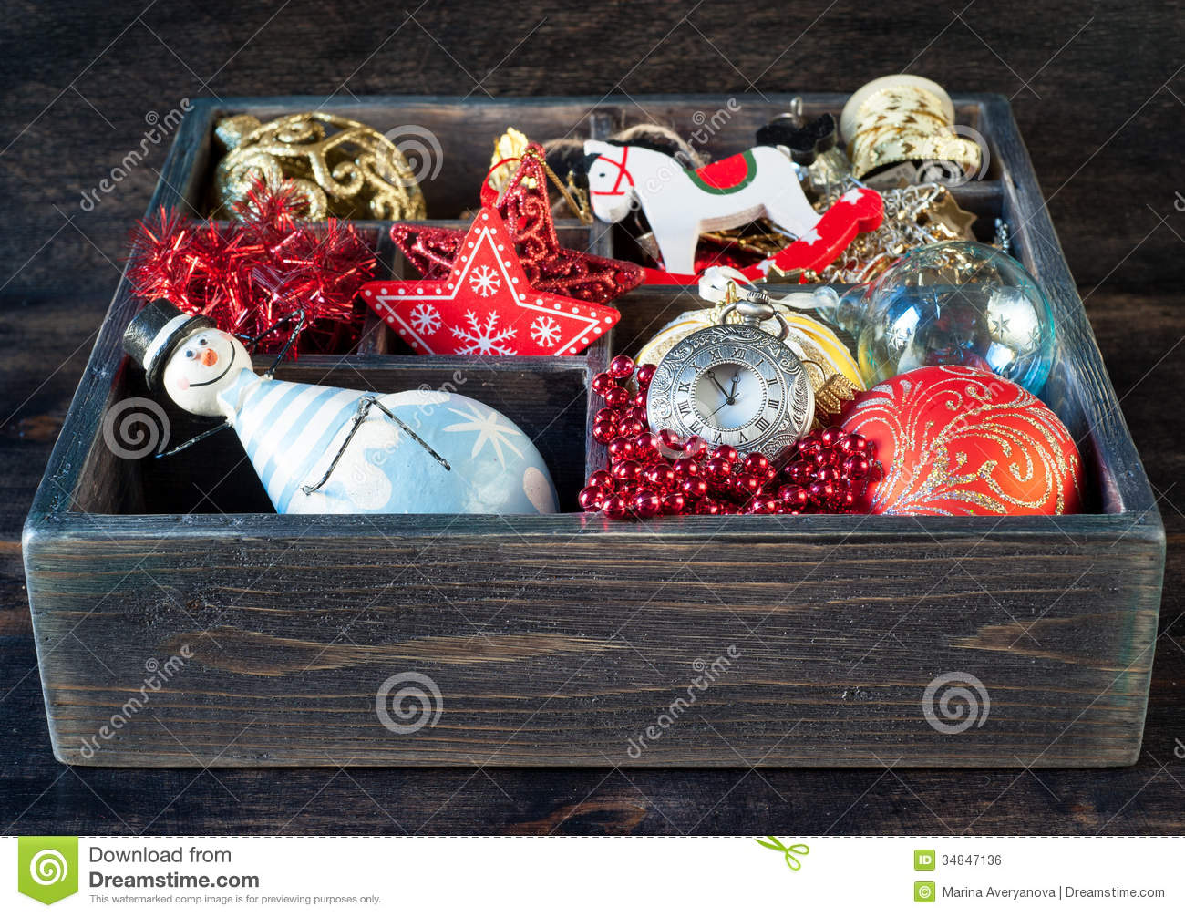 download wooden box with christmas toys gifts and decorations stock photo image of ribbon - Wooden Box Christmas Decorations