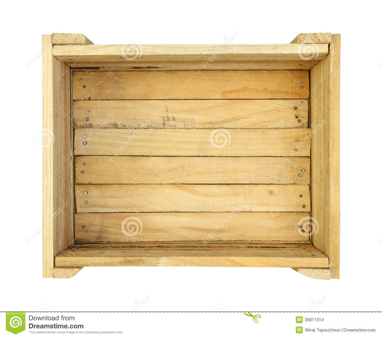 Wooden box (with clipping path) isolated on white background.