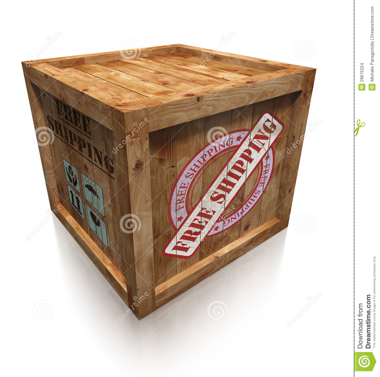 Wooden box crate with free shipping grudge sign. clipping path ...