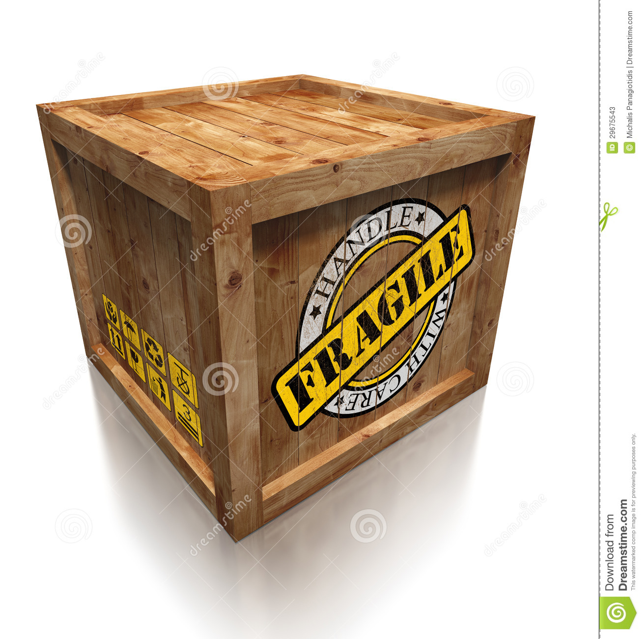 Wooden Box Crate With Grunge Fragile Symbol Stock