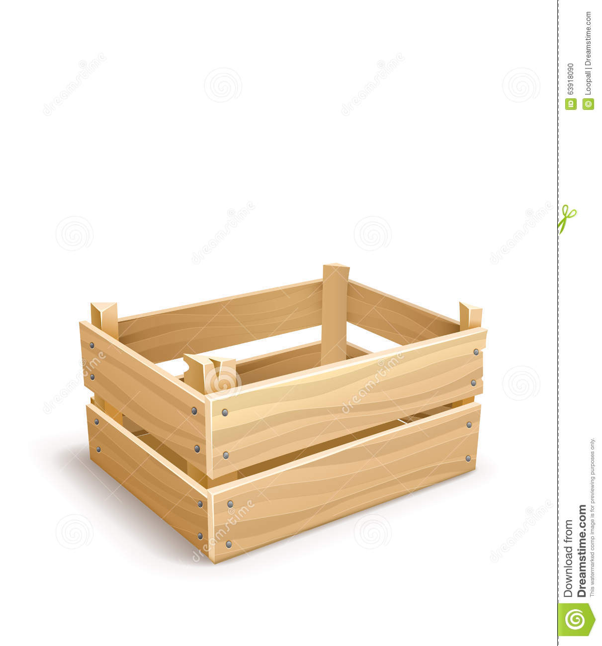 Wooden Box For Fruits And Vegetables Keeping Stock Vector