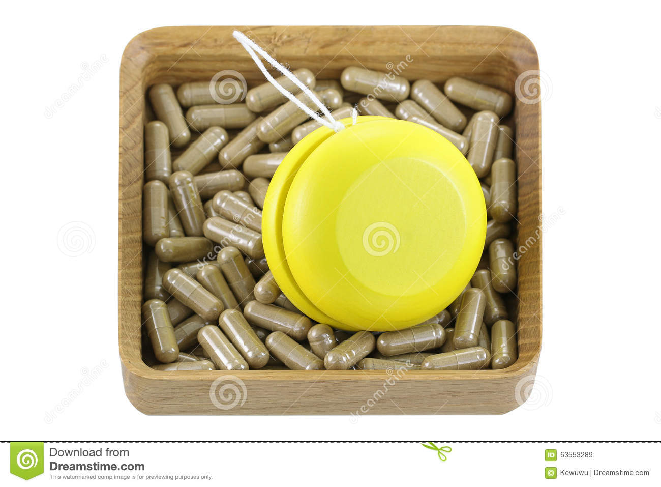 A wooden box full of herbal medicines with yellow YoYo