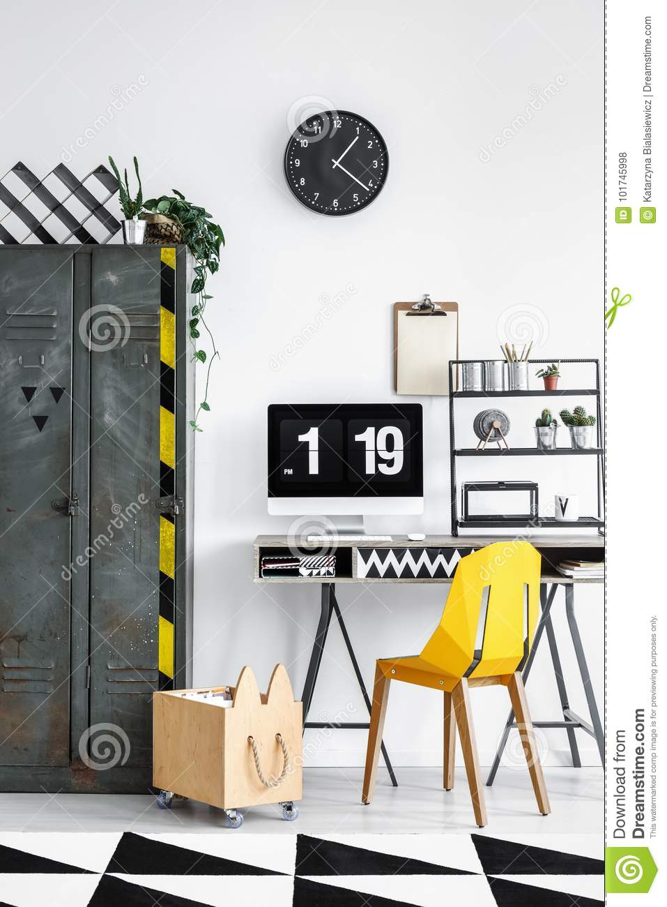 Designer Home Office Interior Stock Photo - Image of house ...