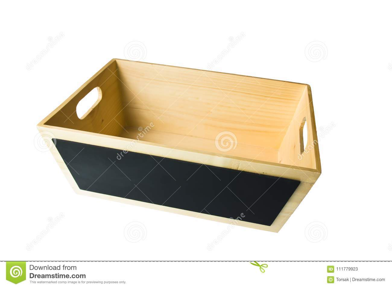 Wooden box isolated on white background