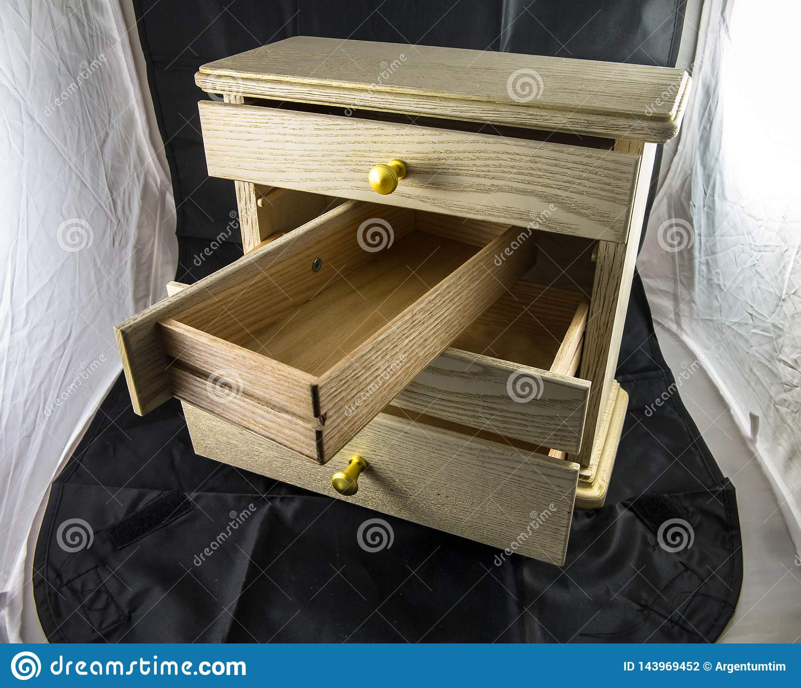 Wooden box with shelves for jewelry