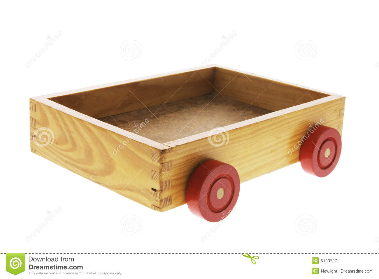 Wooden Box with Wheels on White Background.