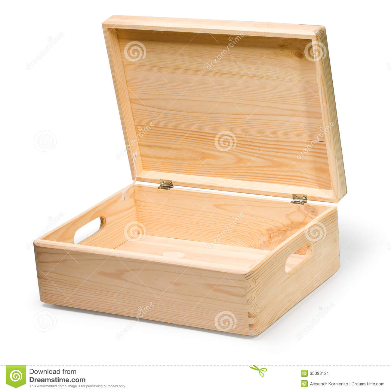 Wooden box on white background with clipping path.