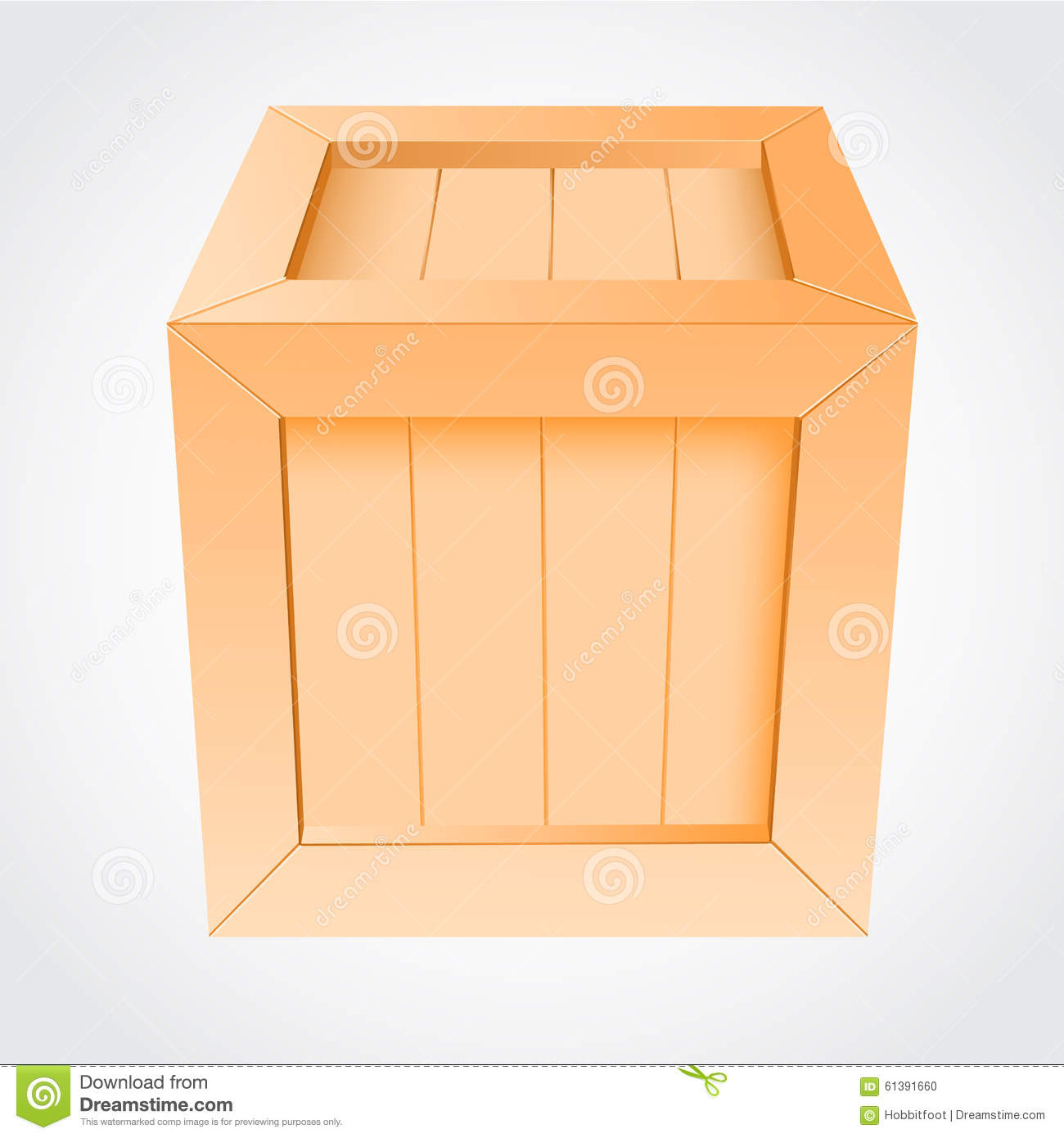 Wooden Box On White Background Stock Vector - Image: 61391660