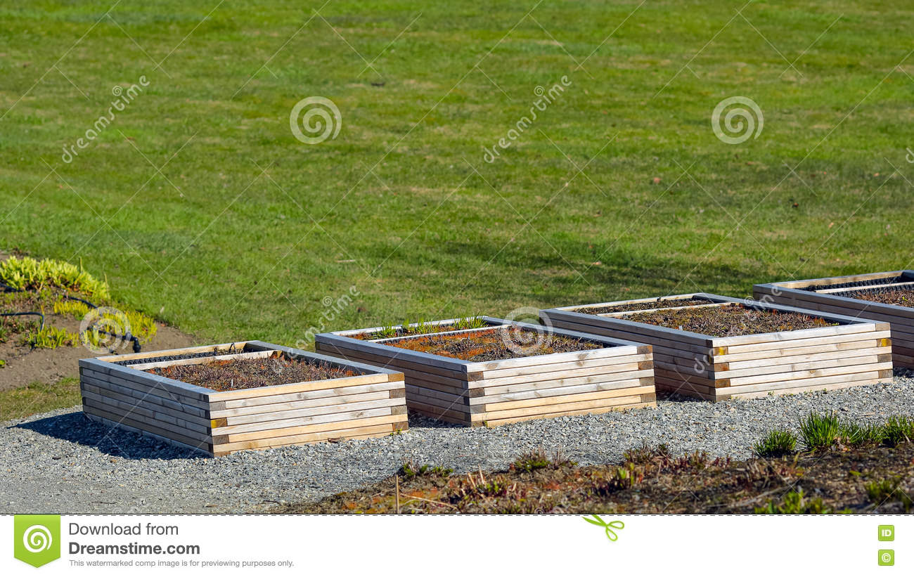 Wooden boxes in the garden