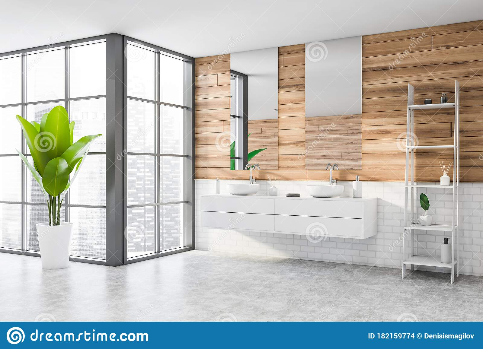 Wooden And Brick Bathroom Corner Double Sink Stock Illustration Illustration Of Empty Relaxation 182159774