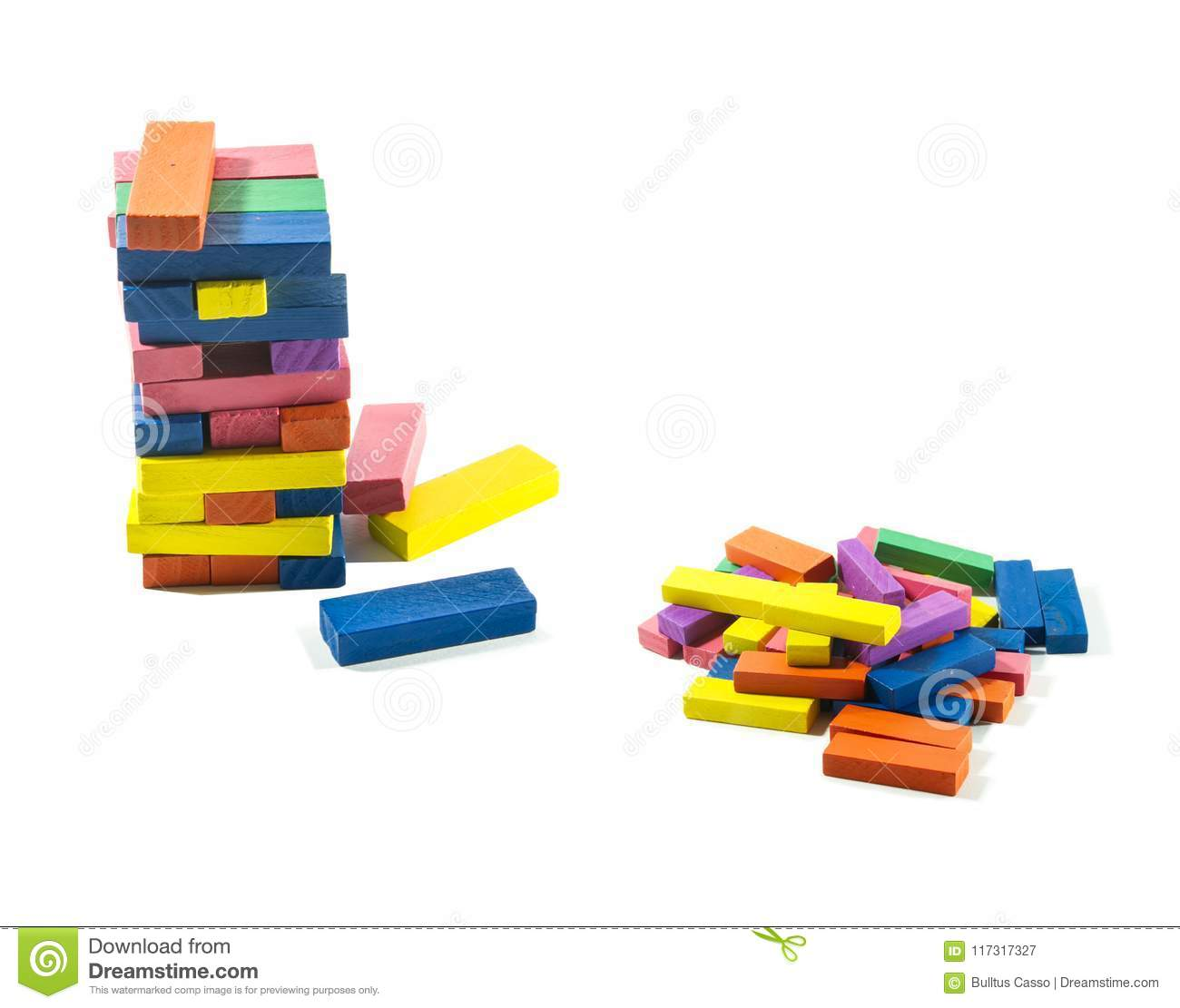 Wooden Bricks A Child Game On Isolated White Background  Stock Image