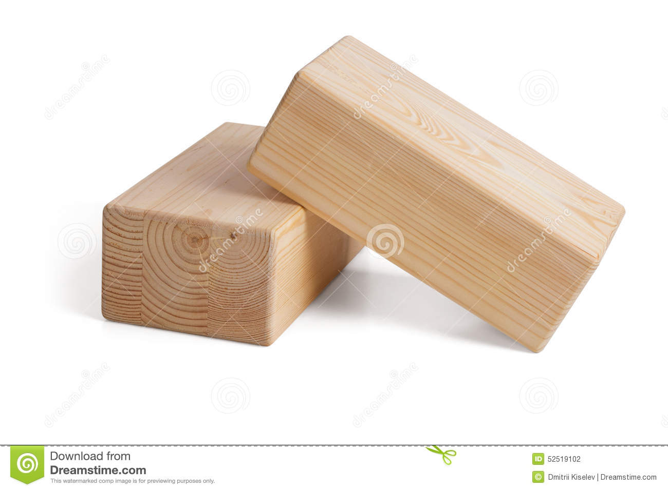 Wooden Bricks For Yoga On A White Background Stock Photo