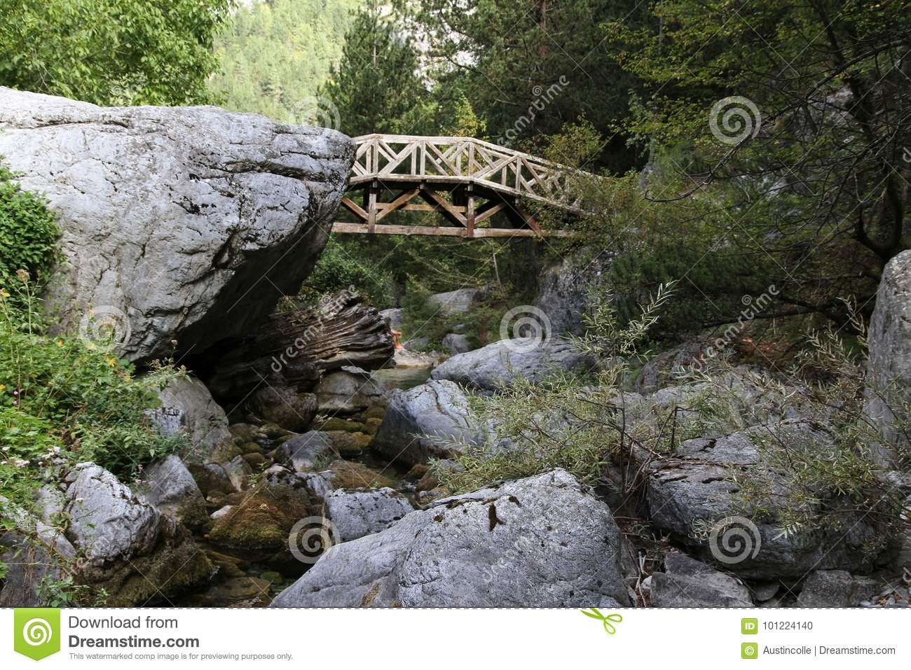 Wooden bridge at the base of Mt. Olympus in Greece.