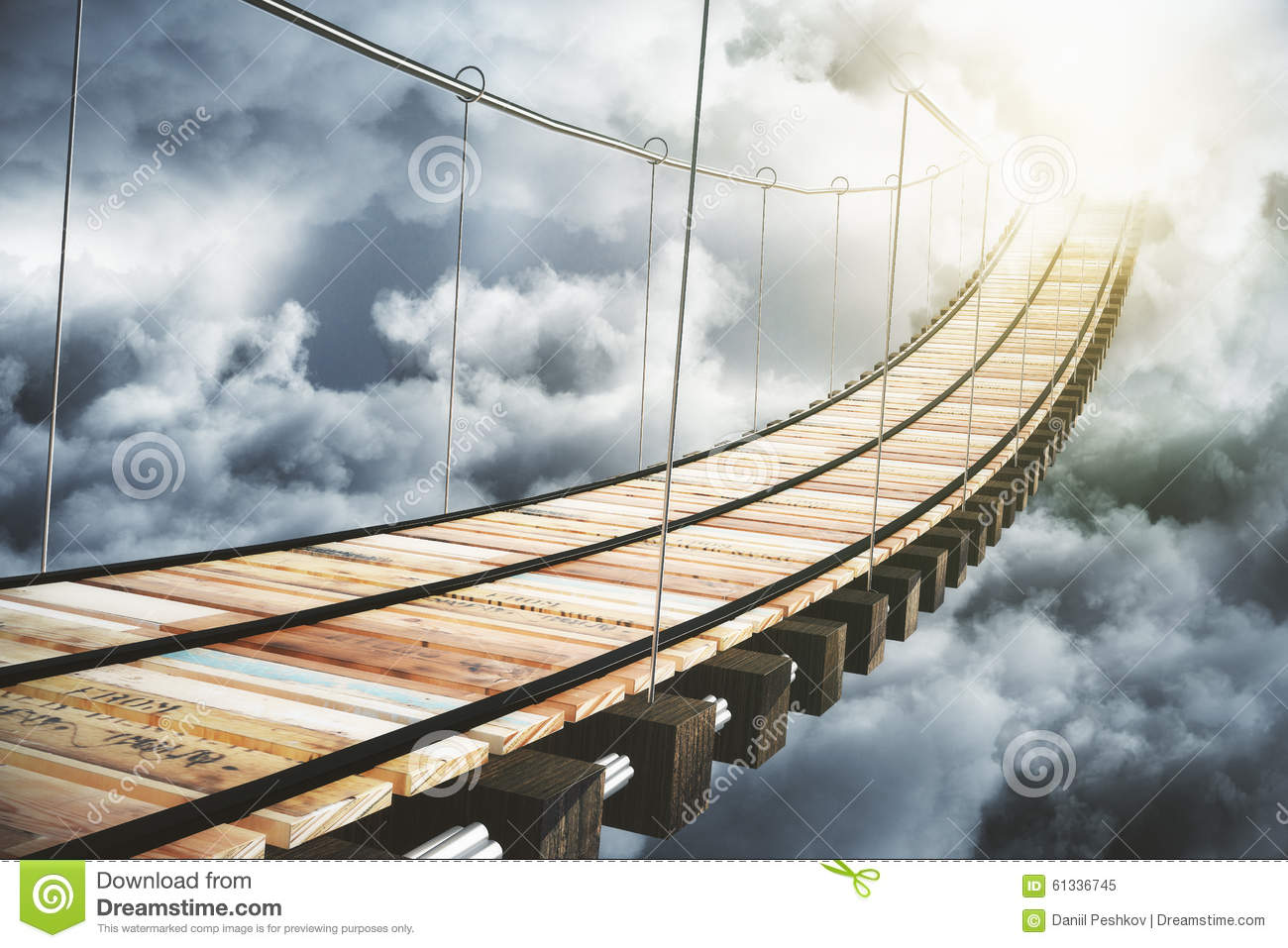 Wooden Bridge In The Clouds Going To Sunlight Stock Image