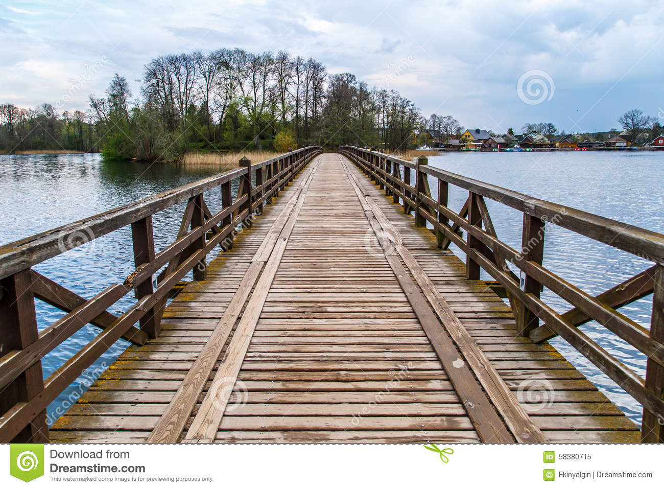 Wooden bridge on lake stock image image of cloud for Lake front view