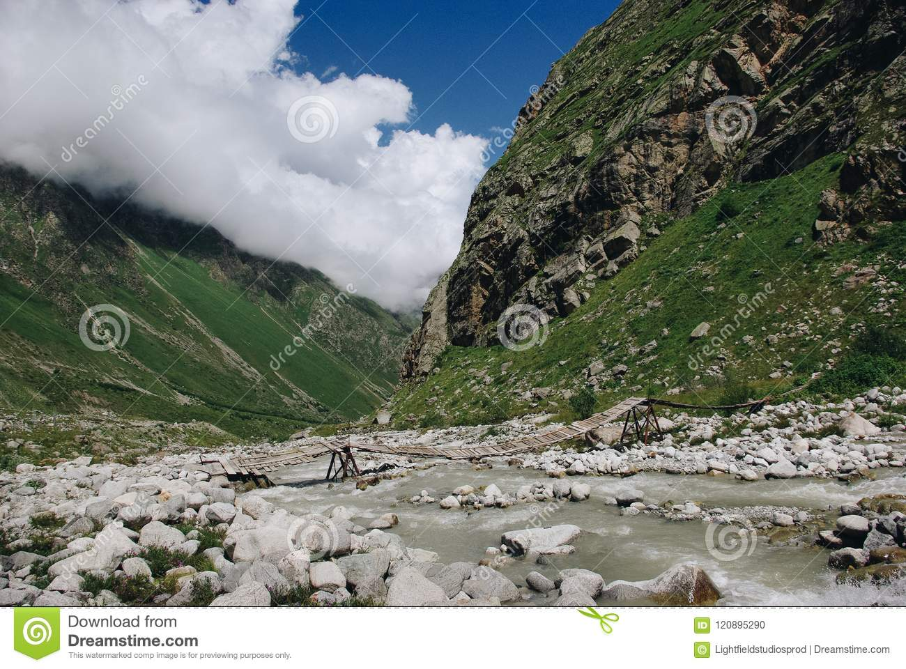 wooden bridge and mountain river, Russian Federation, Caucasus,