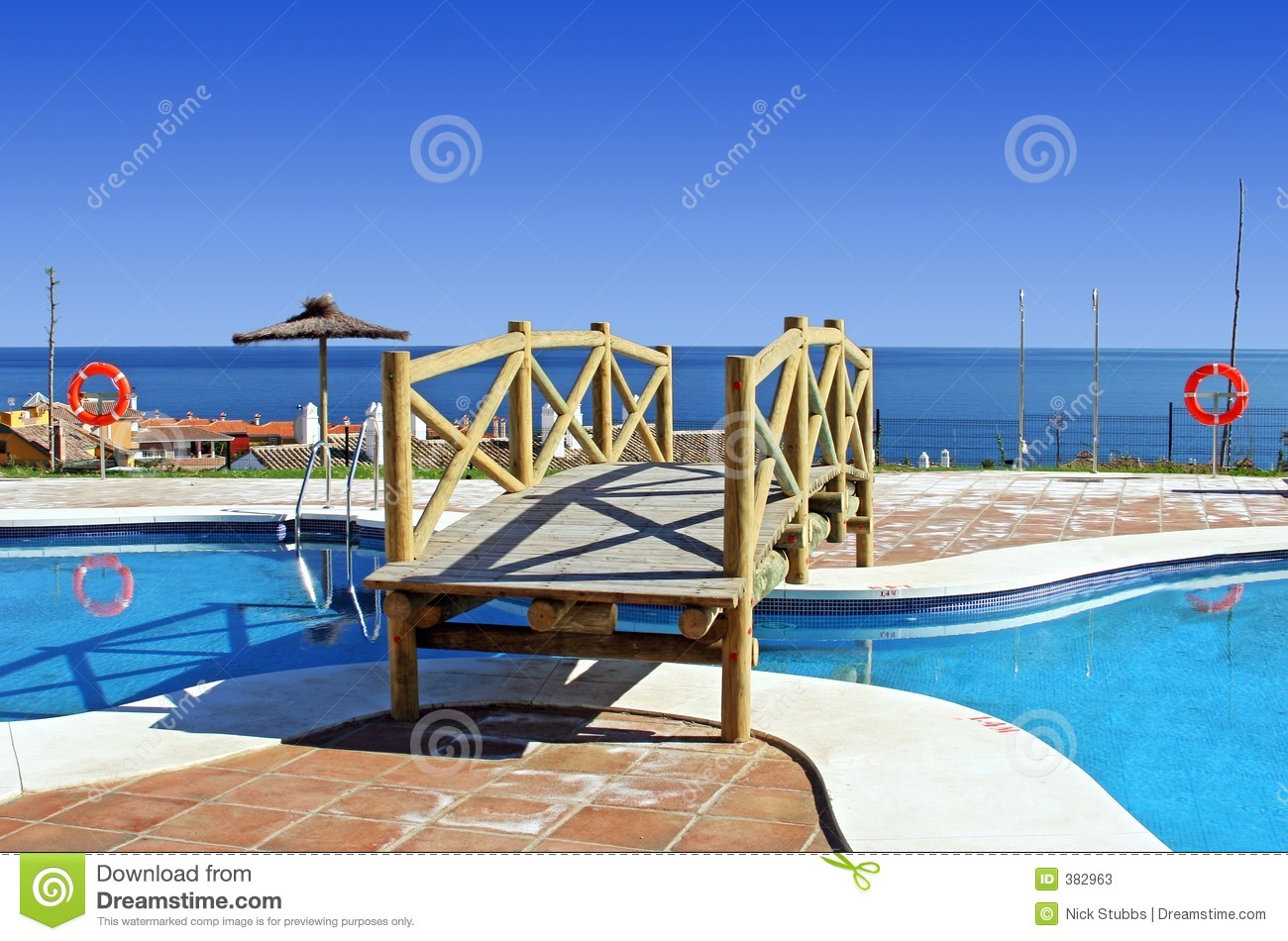 Wooden Bridge Over Swimming Pool In Spanish Urbanisation Stock Photos Image 382963