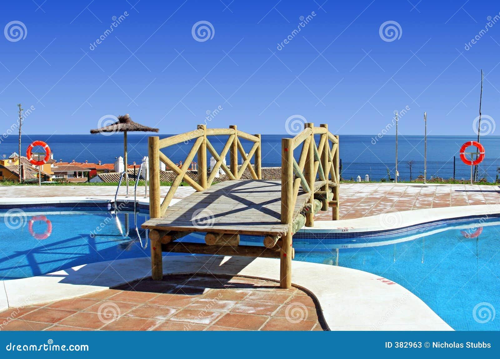 Wooden Bridge Over Swimming Pool In Spanish Urbanisation Stock Image Image 382963