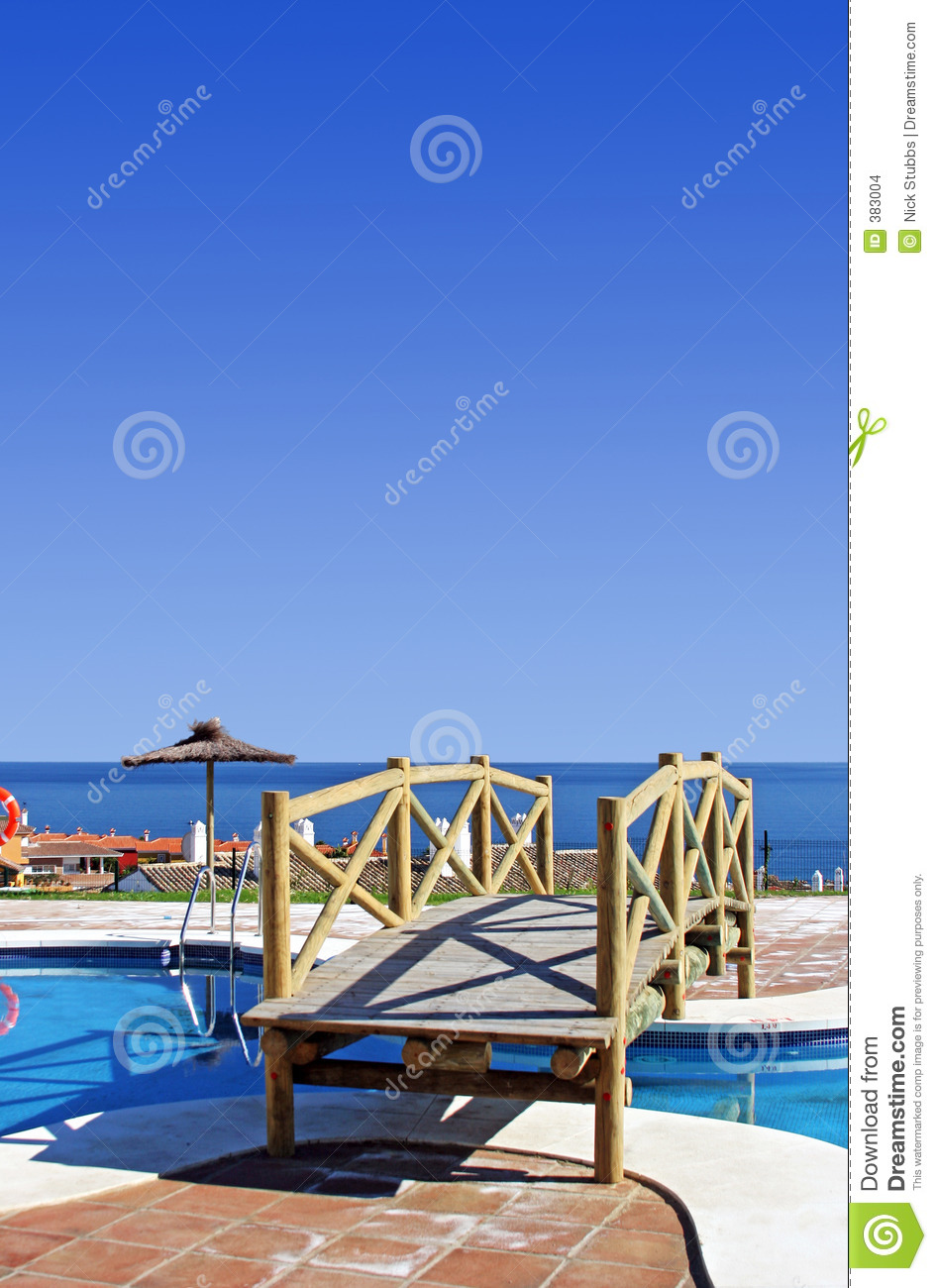 Wooden bridge over swimming pool in spanish urbanisation stock images image 383004 for How to say swimming pool in spanish