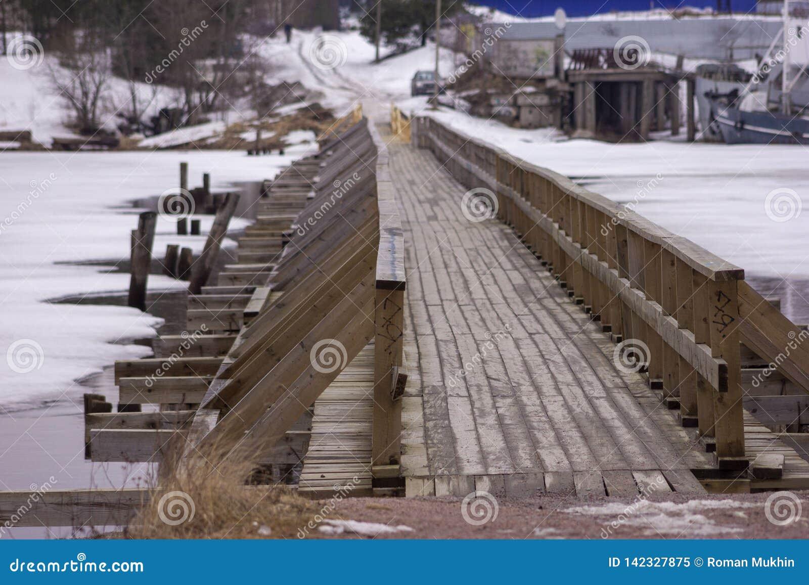 Wooden bridge in town of Priozersk at Vuoksa river