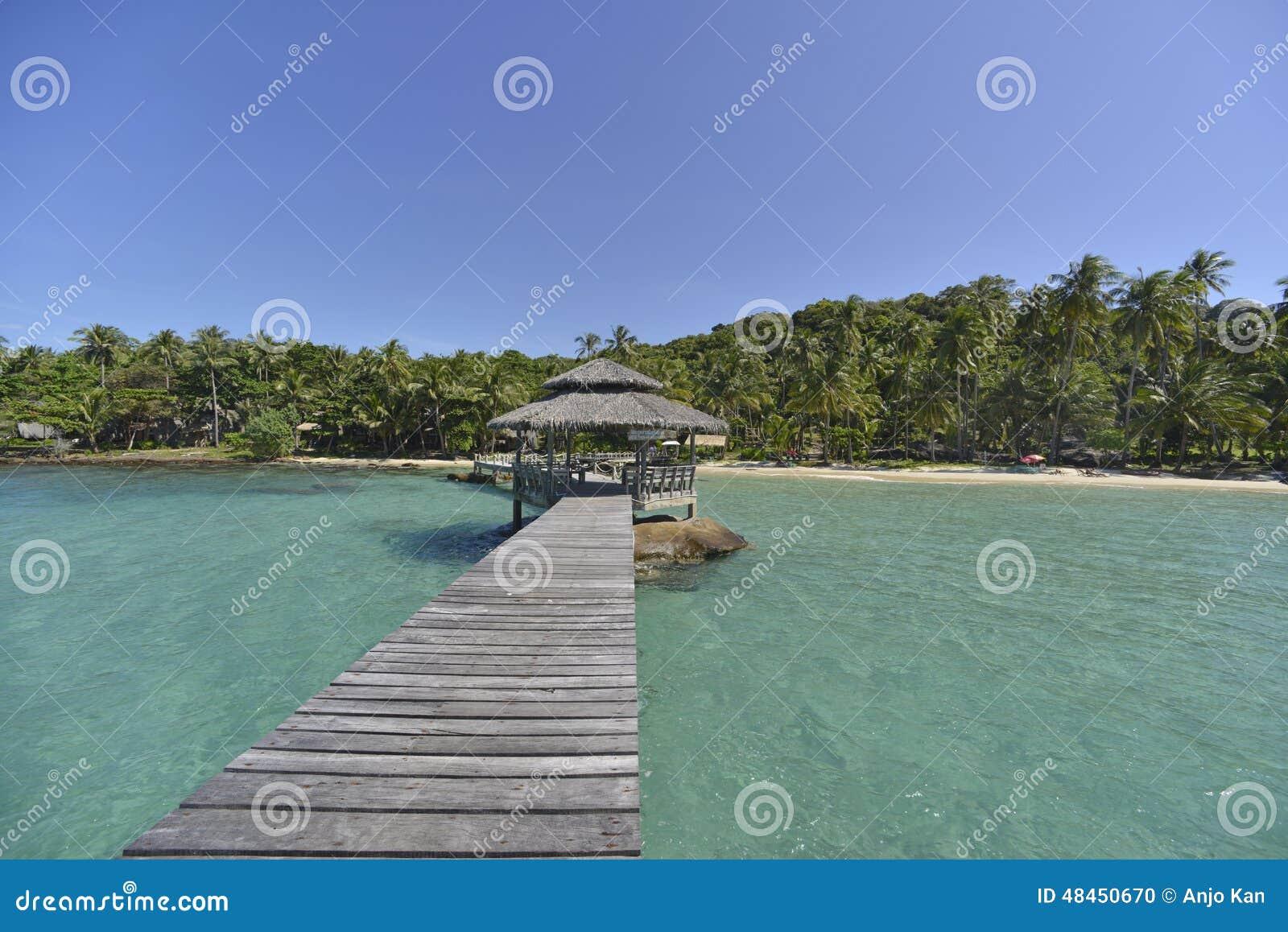 Wooden bridge at sunny day