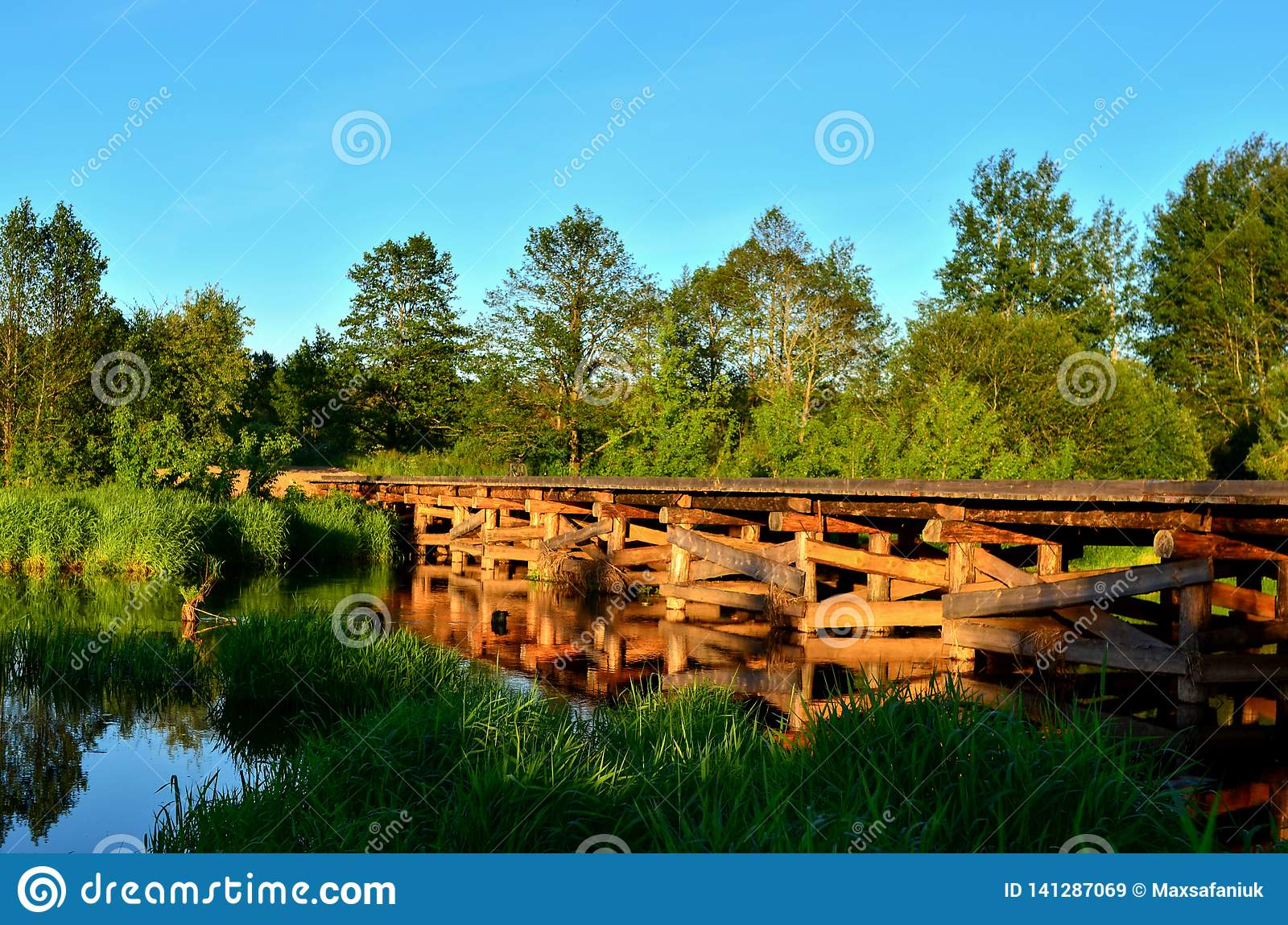 A wooden bridge of tree logs lies across a small river inside a wooded area among green nature.