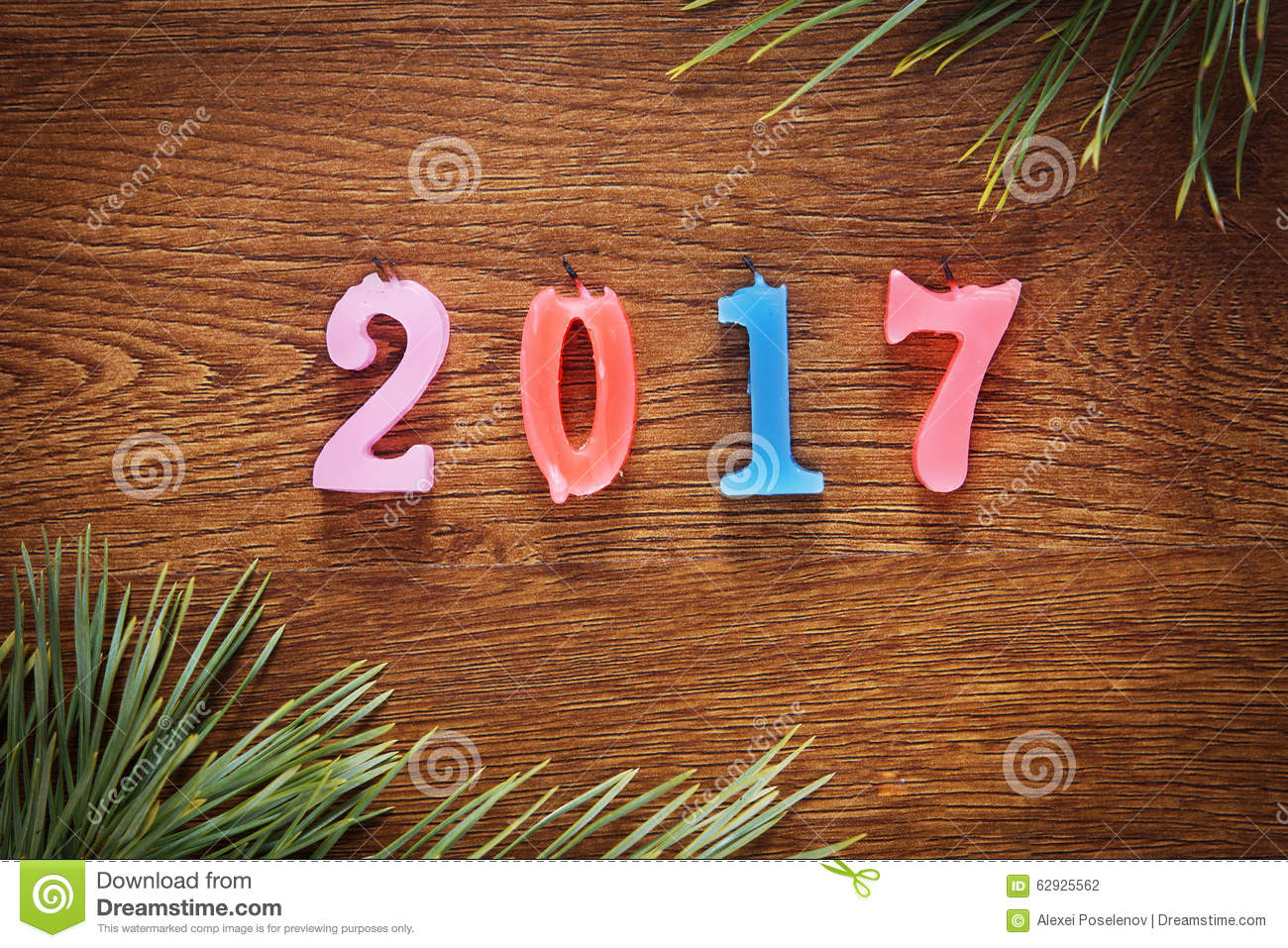 Background image 2017 - Wooden Brown Background About Happy New Year 2017 Stock Photography