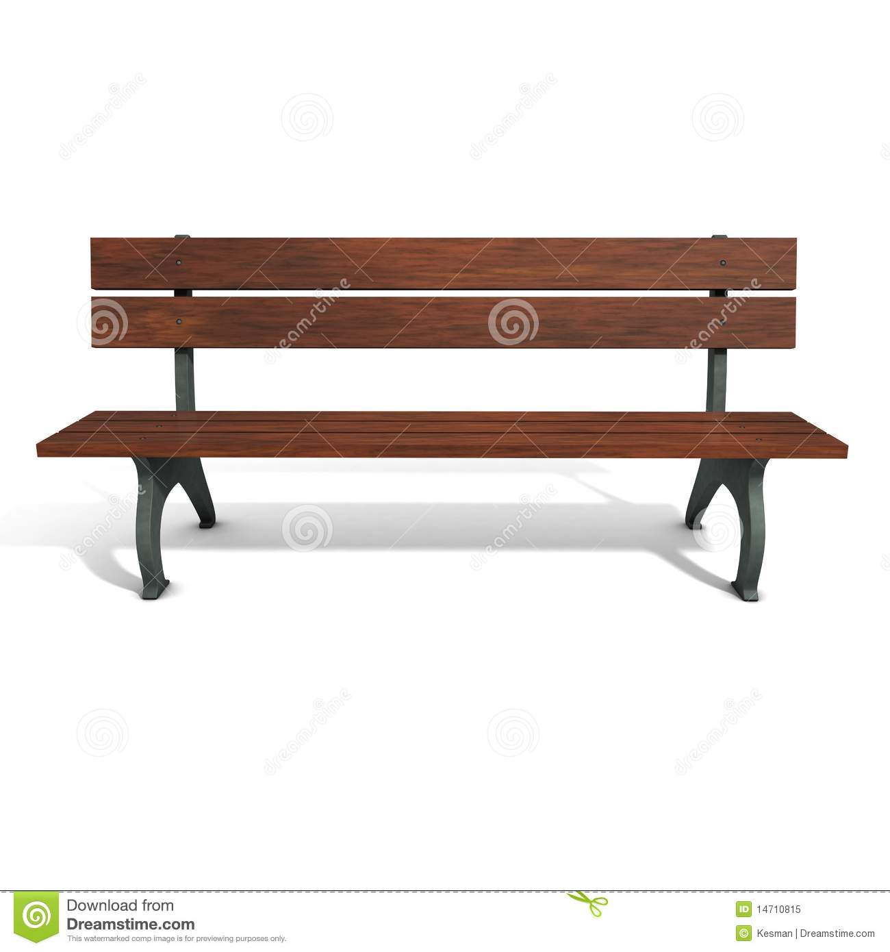 Wooden brown park bench. 3D graphics. Three-dimensional, isolated on ...