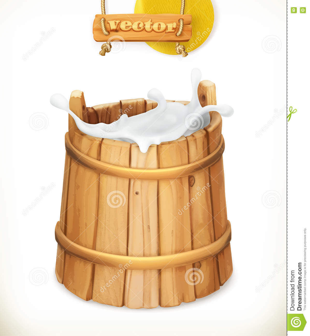 Wooden Bucket  Milk  Natural Dairy Products  3d Vector Icon