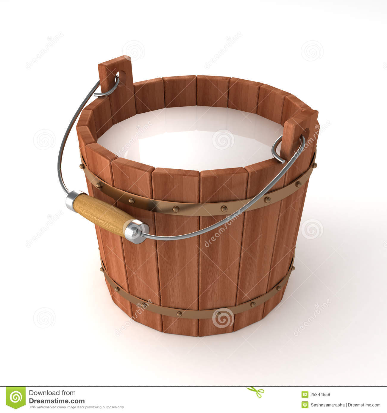 Wooden Bucket With Milk On White Background Royalty Free Stock Images ...