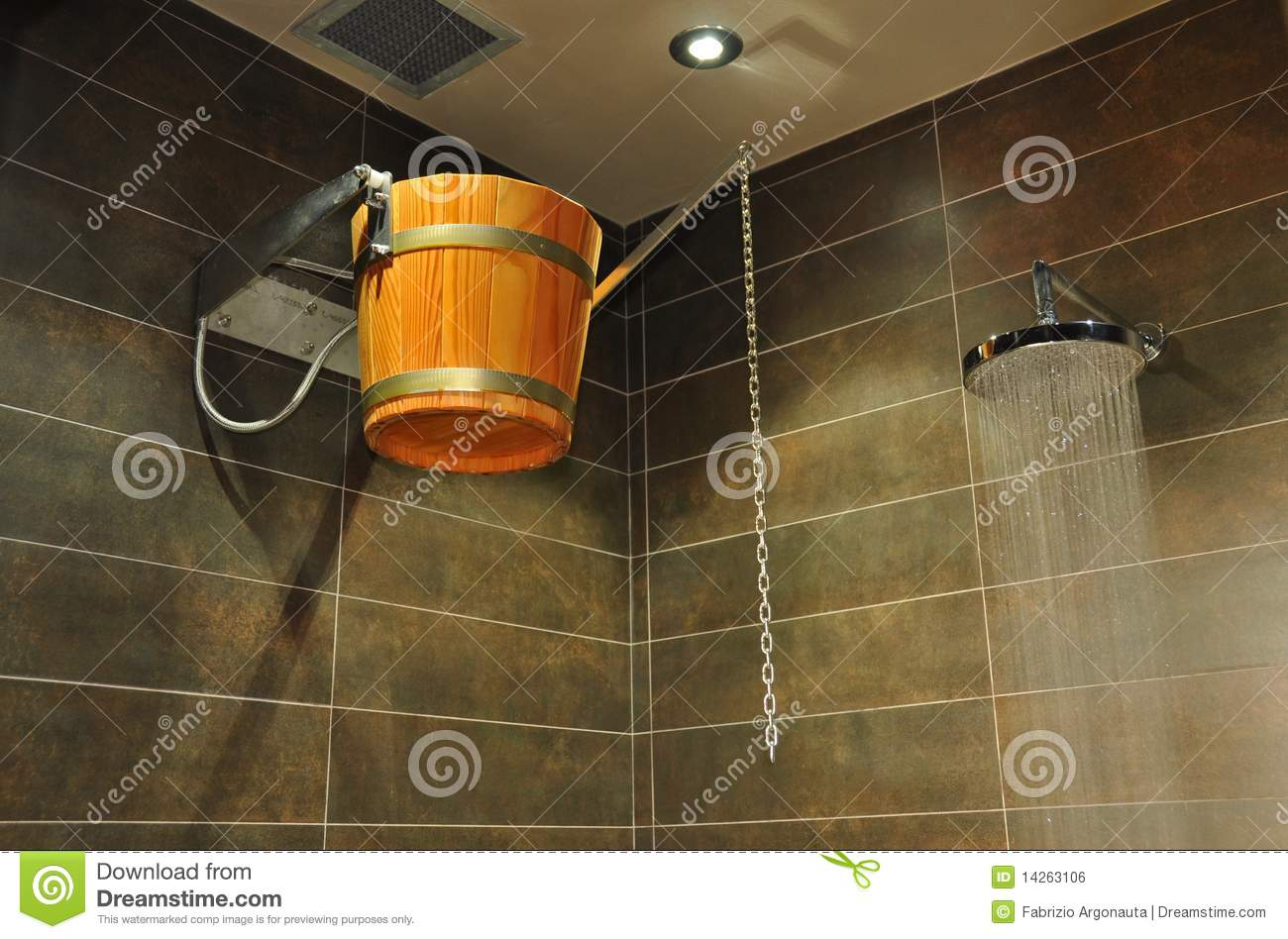 Wooden Bucket In Shower Stock Photo Image Of Suspended
