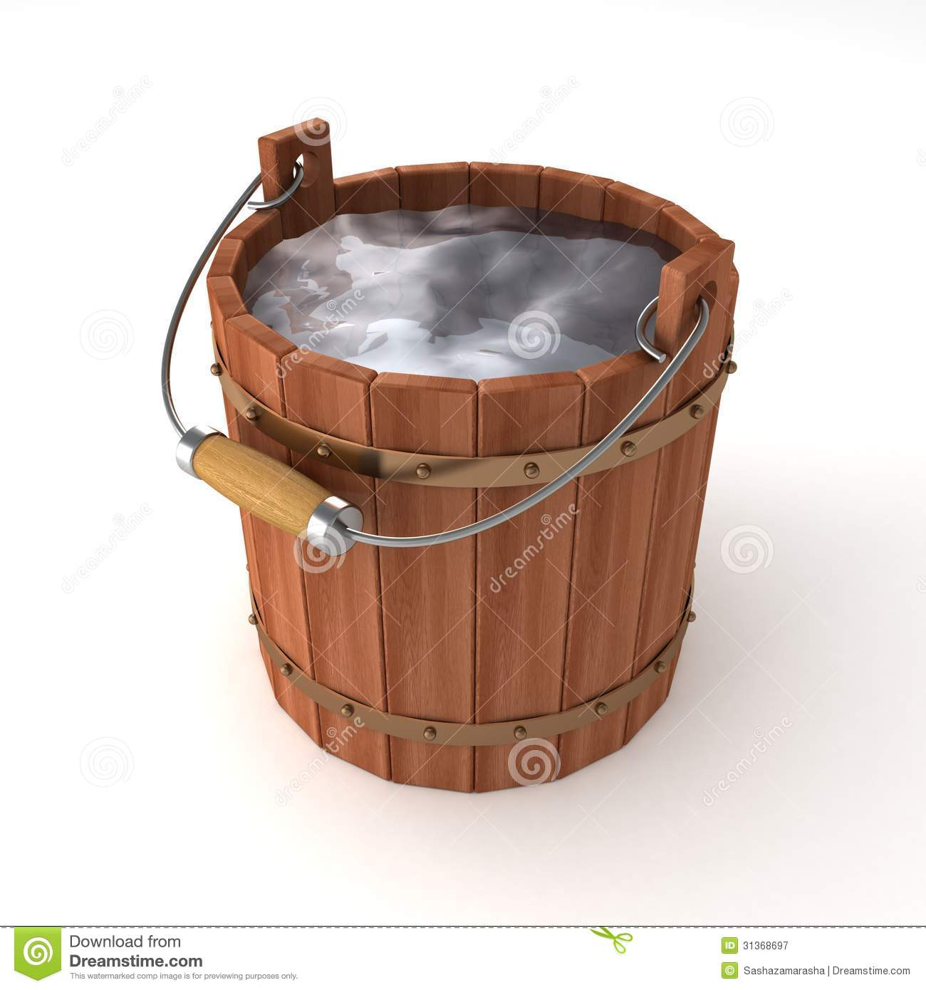 Wooden Bucket Of Water On White Background Royalty Free Stock
