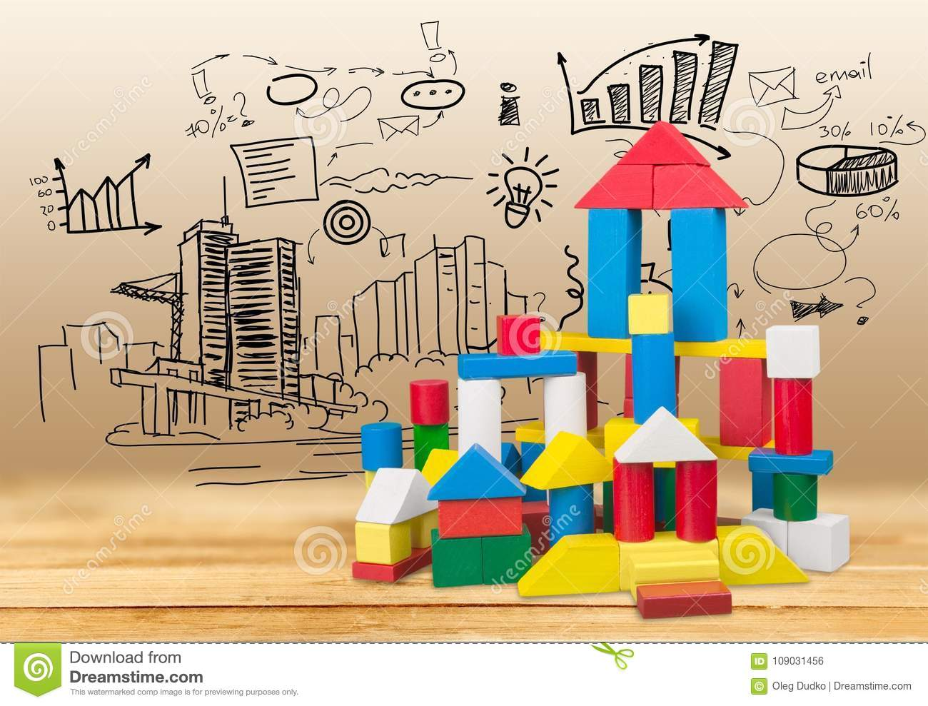 Wooden building blocks on graphs background