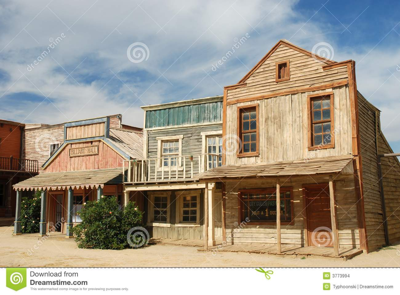 Wooden Buildings In An American Town Stock Photo Image