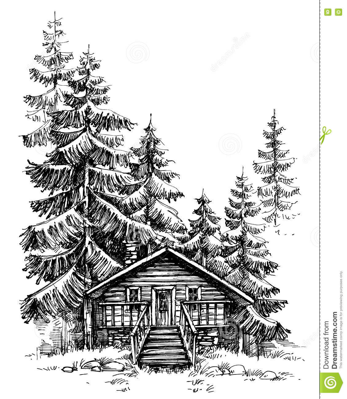 Landscape Illustration Vector Free: A Wooden Cabin In The Pine Forest Stock Vector